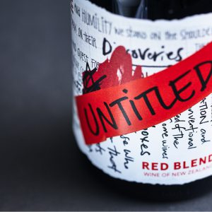 Untitled Wines - Red Blend - Wine of New Zealand -Close Up Front Label - Upright Studio Shot